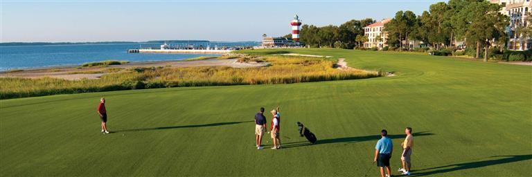 Golf Buddies Playing Harbour Town Golf Links 18th Hole