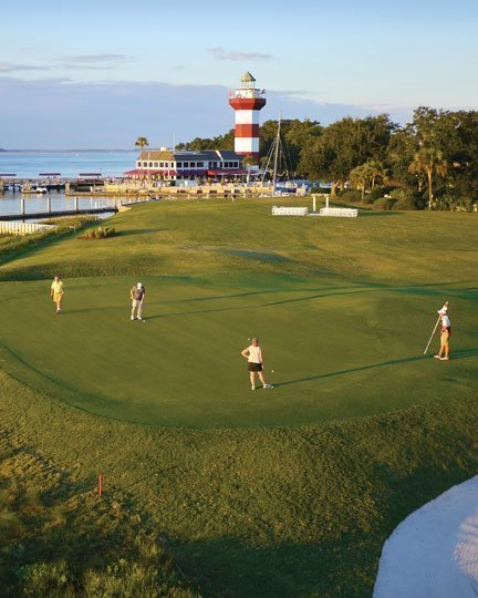Golfers on the 18th Hole of Harbour Town Golf Links