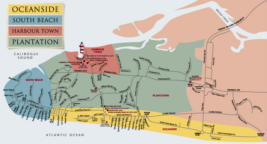 The Sea Pines Resort Map